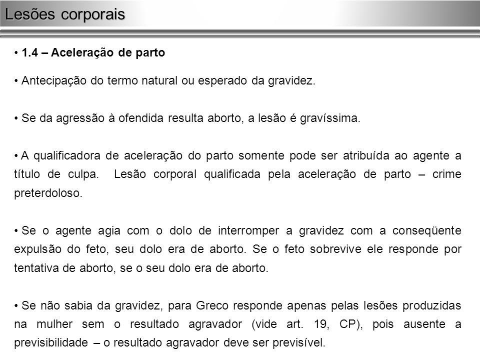1.4 – Aceleração de parto Antecipação do termo natural ou esperado da gravidez. Se da agressão à ofendida resulta aborto, a lesão é gravíssima. A qual