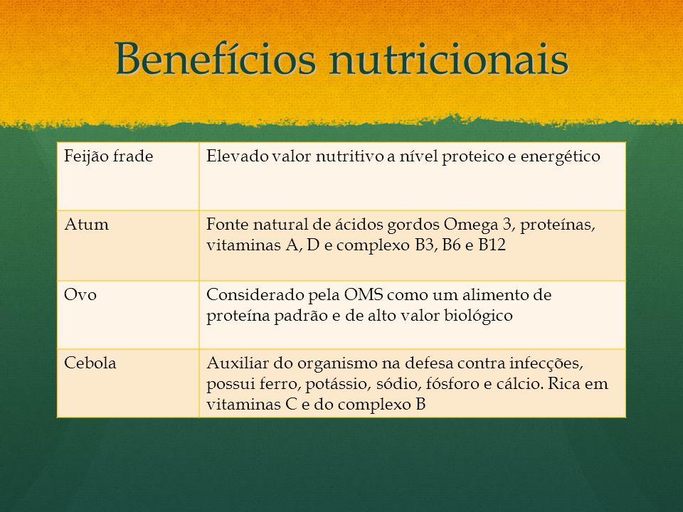 Benefícios nutricionais Feijão fradeElevado valor nutritivo a nível proteico e energético AtumFonte natural de ácidos gordos Omega 3, proteínas, vitam