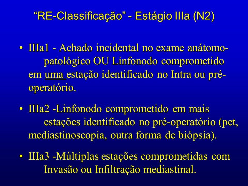 RE-Classificação - Estágio IIIa (N2) IIIa1 - Achado incidental no exame anátomo- patológico OU Linfonodo comprometido em uma estação identificado no I