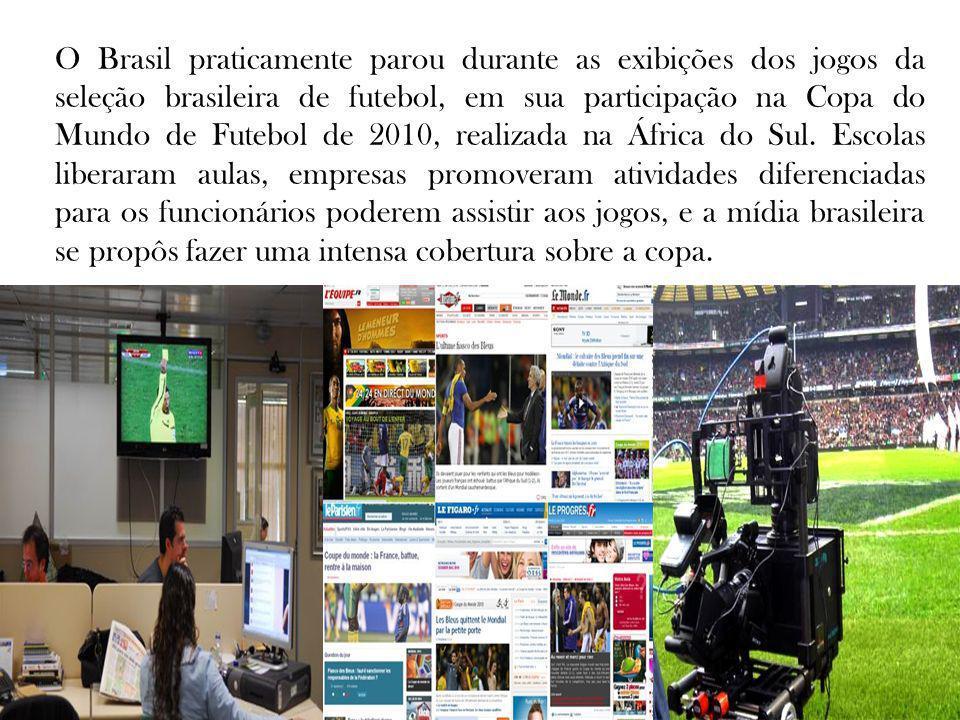O Brasil praticamente parou durante as exibições dos jogos da seleção brasileira de futebol, em sua participação na Copa do Mundo de Futebol de 2010, realizada na África do Sul.