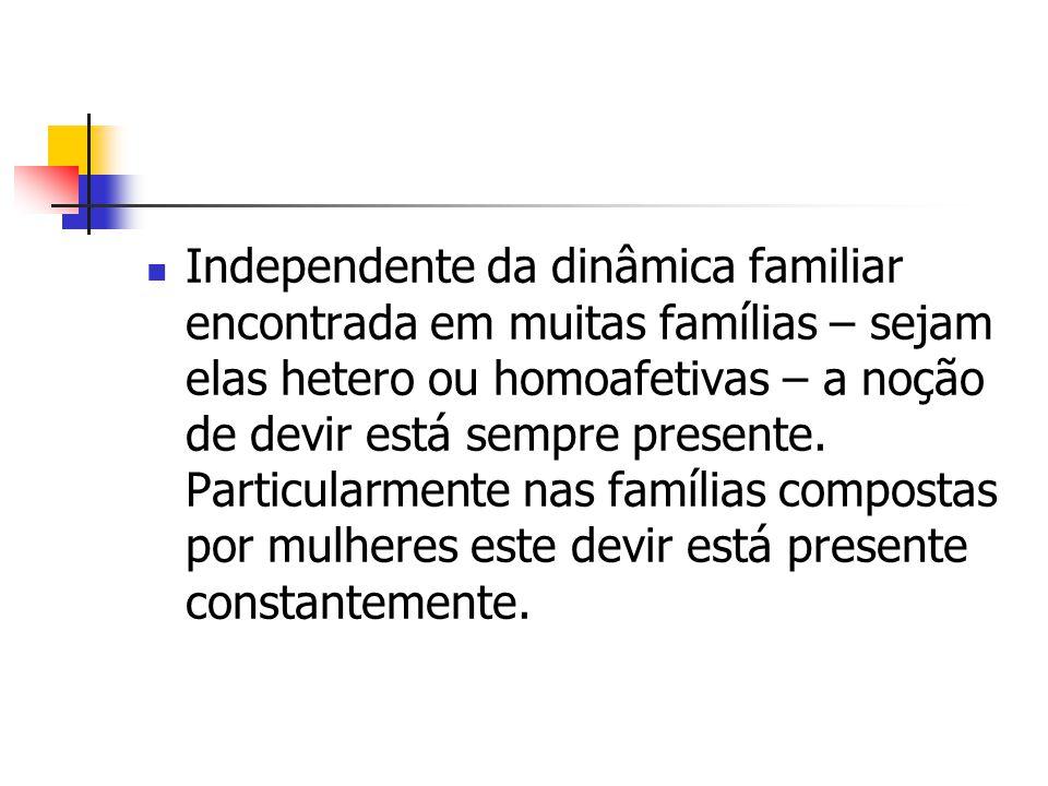 Independente da dinâmica familiar encontrada em muitas famílias – sejam elas hetero ou homoafetivas – a noção de devir está sempre presente. Particula