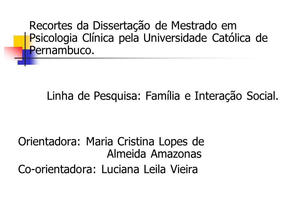 Recortes da Dissertação de Mestrado em Psicologia Clínica pela Universidade Católica de Pernambuco. Linha de Pesquisa: Família e Interação Social. Ori