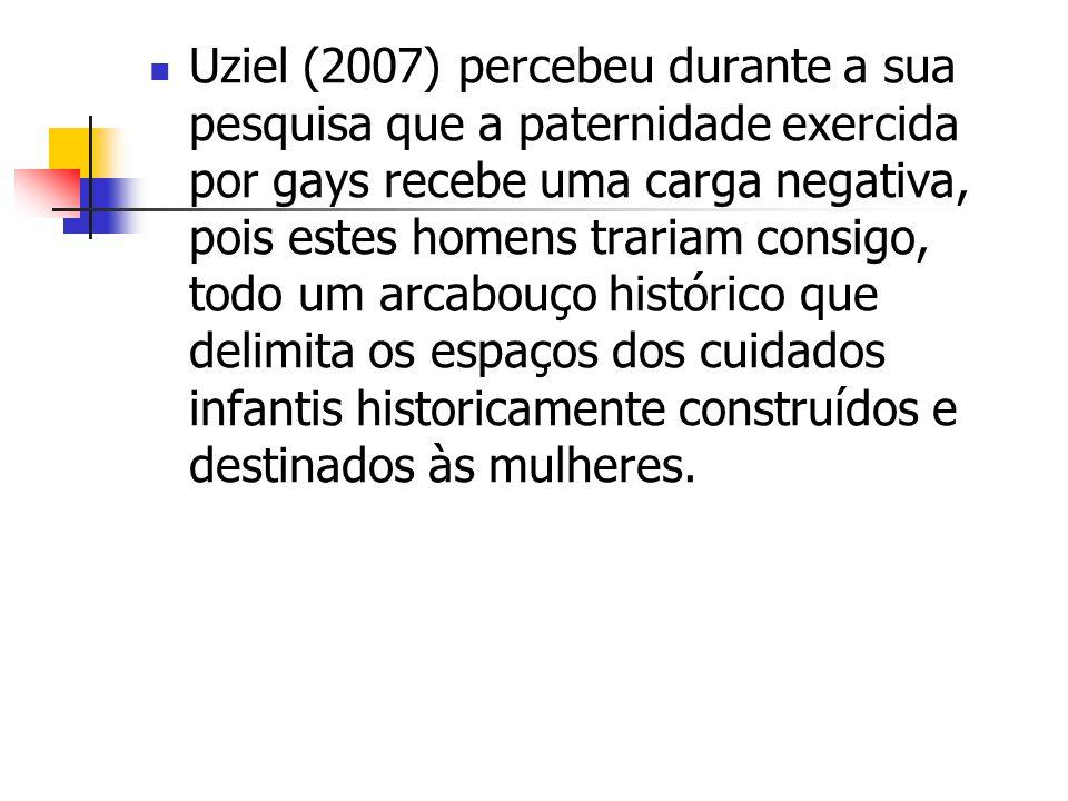 Uziel (2007) percebeu durante a sua pesquisa que a paternidade exercida por gays recebe uma carga negativa, pois estes homens trariam consigo, todo um
