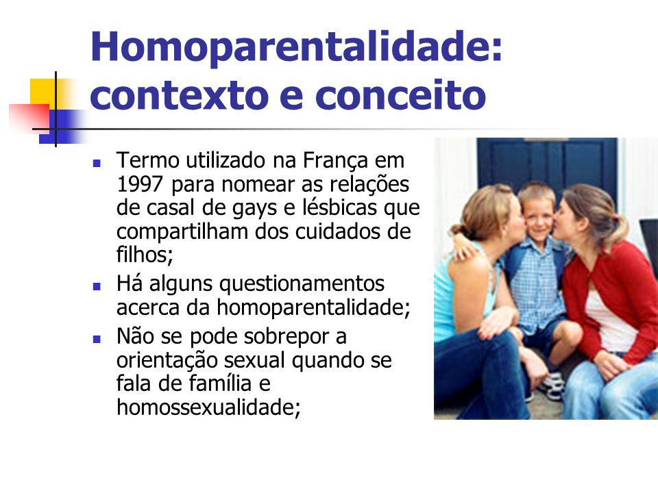 Homoparentalidade: contexto e conceito Termo utilizado na França em 1997 para nomear as relações de casal de gays e lésbicas que compartilham dos cuid