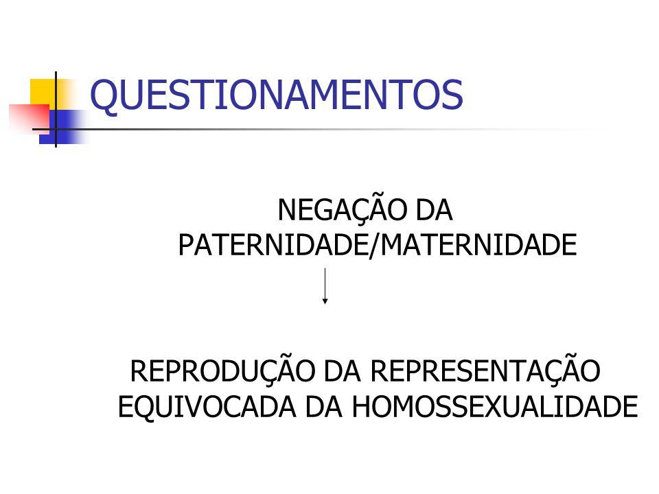 QUESTIONAMENTOS NEGAÇÃO DA PATERNIDADE/MATERNIDADE REPRODUÇÃO DA REPRESENTAÇÃO EQUIVOCADA DA HOMOSSEXUALIDADE