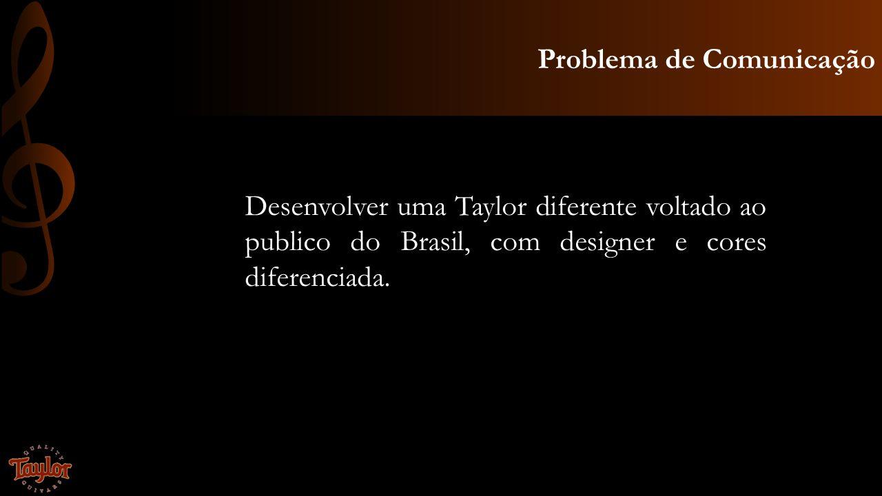 Problema de Comunicação Desenvolver uma Taylor diferente voltado ao publico do Brasil, com designer e cores diferenciada.