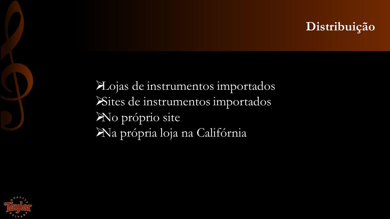 Distribuição Lojas de instrumentos importados Sites de instrumentos importados No próprio site Na própria loja na Califórnia