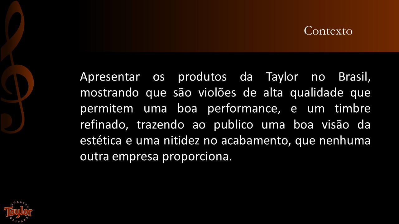 Contexto Apresentar os produtos da Taylor no Brasil, mostrando que são violões de alta qualidade que permitem uma boa performance, e um timbre refinad