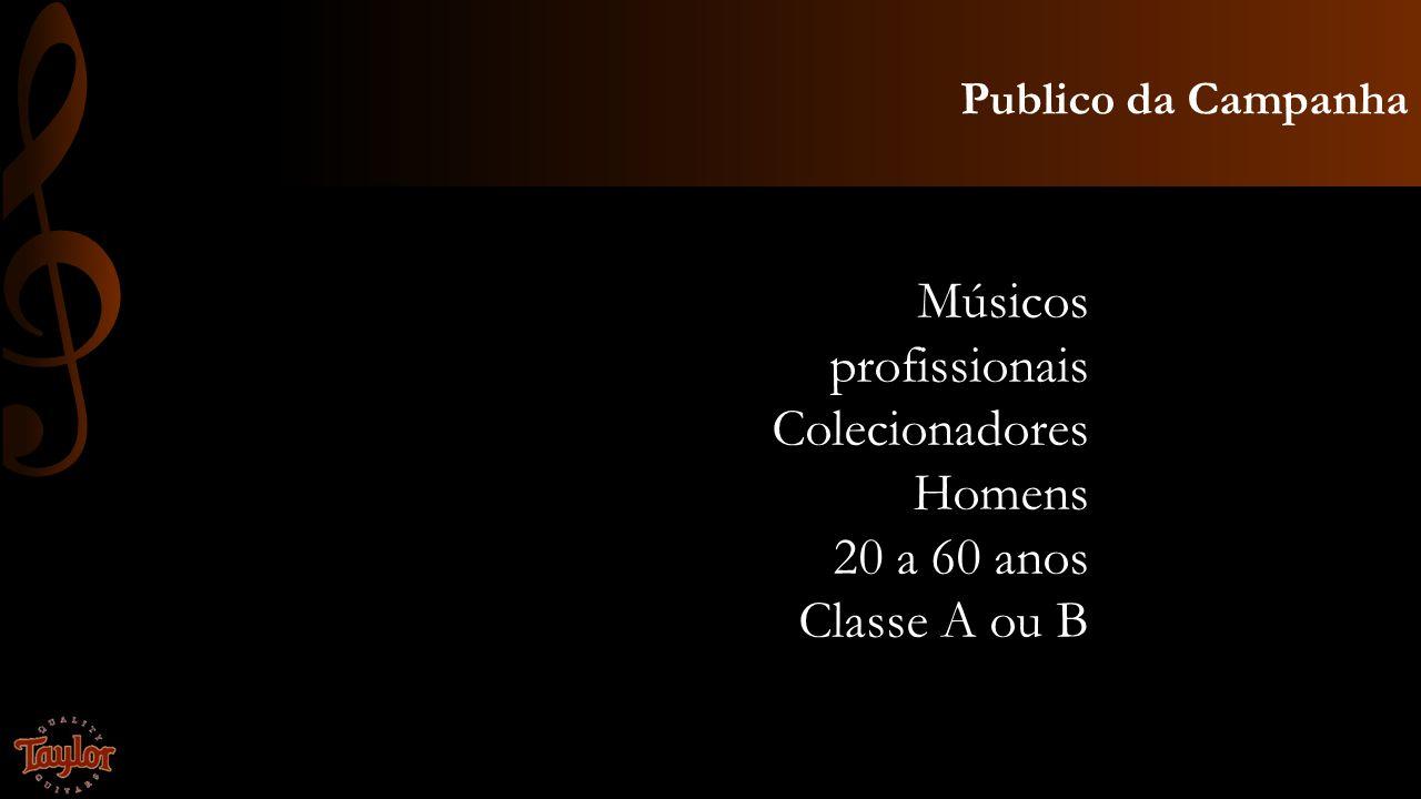 Publico da Campanha Músicos profissionais Colecionadores Homens 20 a 60 anos Classe A ou B