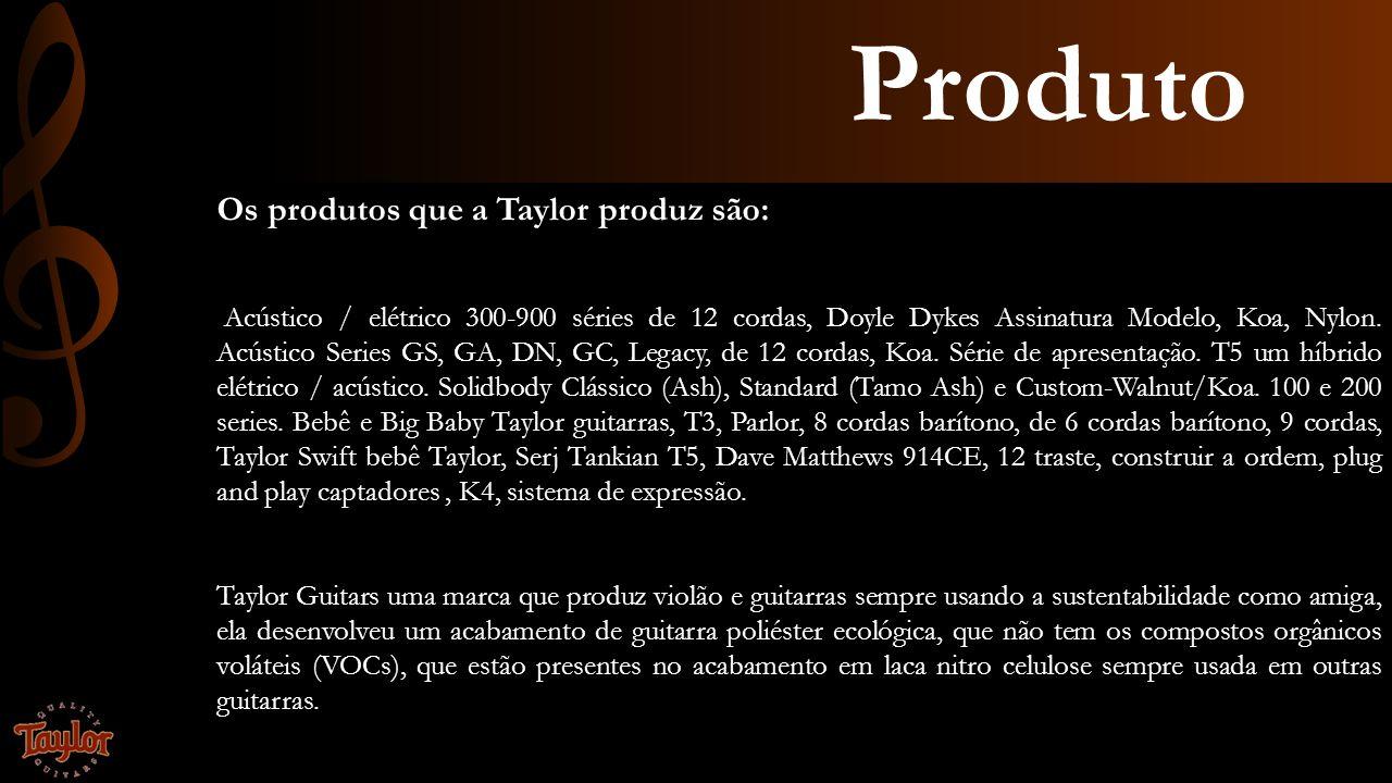 Produto Os produtos que a Taylor produz são: Acústico / elétrico 300-900 séries de 12 cordas, Doyle Dykes Assinatura Modelo, Koa, Nylon. Acústico Seri