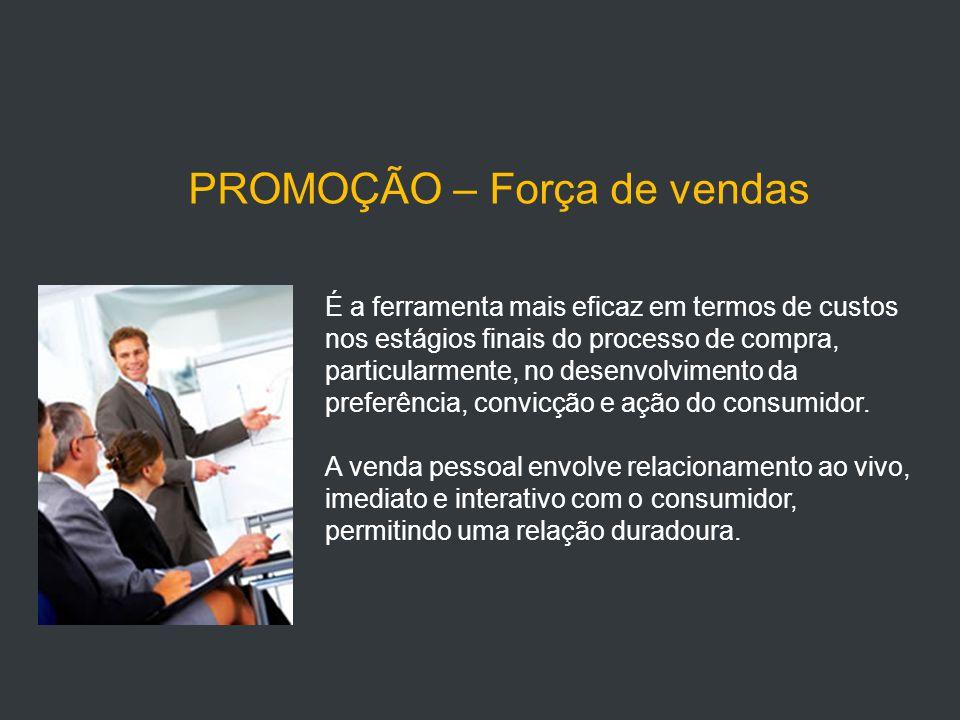 PROMOÇÃO – Força de vendas É a ferramenta mais eficaz em termos de custos nos estágios finais do processo de compra, particularmente, no desenvolvimento da preferência, convicção e ação do consumidor.