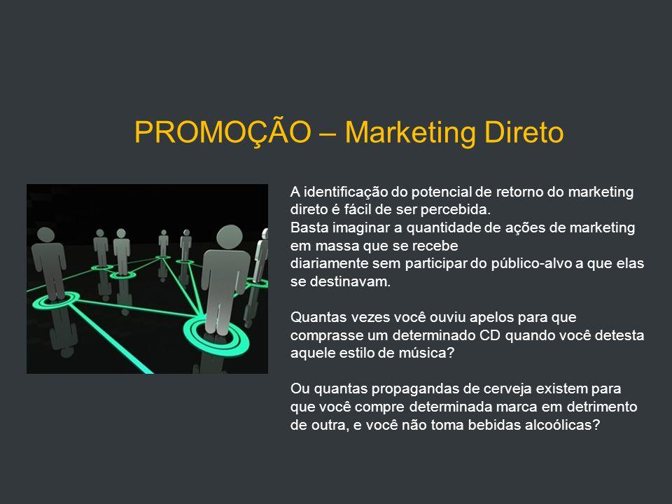 PROMOÇÃO – Marketing Direto A identificação do potencial de retorno do marketing direto é fácil de ser percebida.