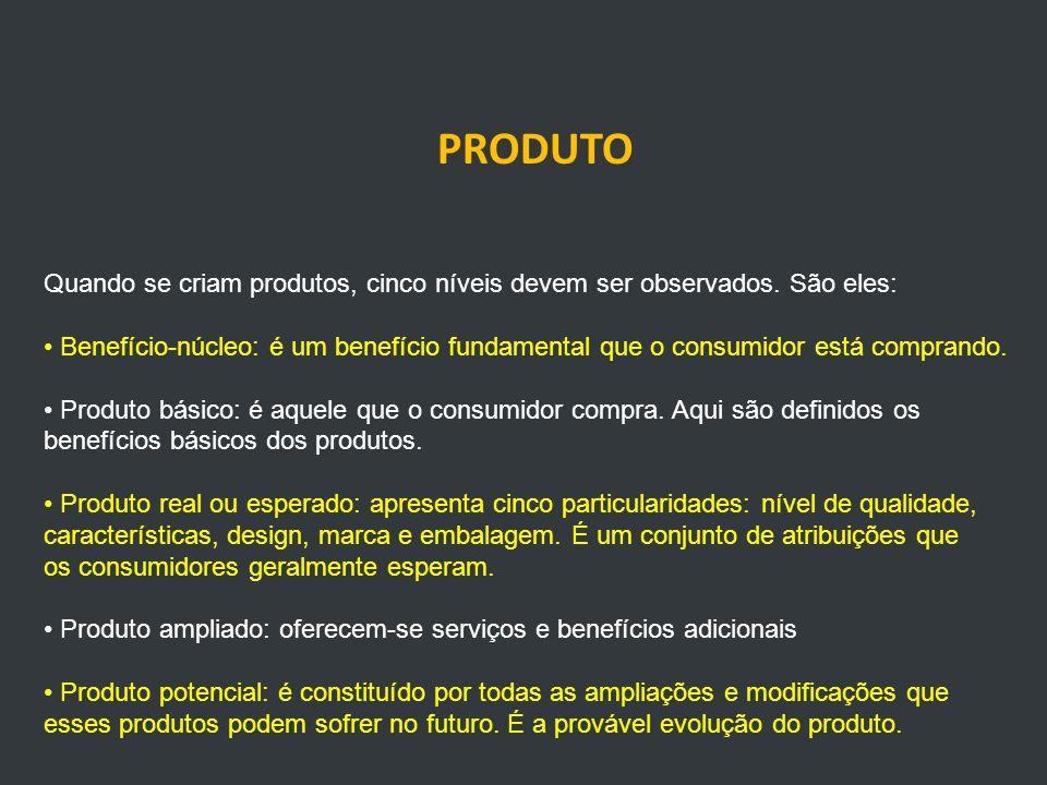 PRODUTO Quando se criam produtos, cinco níveis devem ser observados.