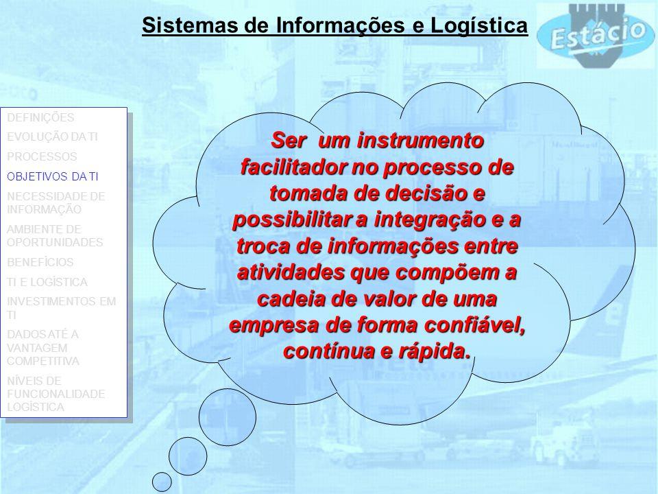 Sistemas de Informações e Logística Ser um instrumento facilitador no processo de tomada de decisão e possibilitar a integração e a troca de informaçõ