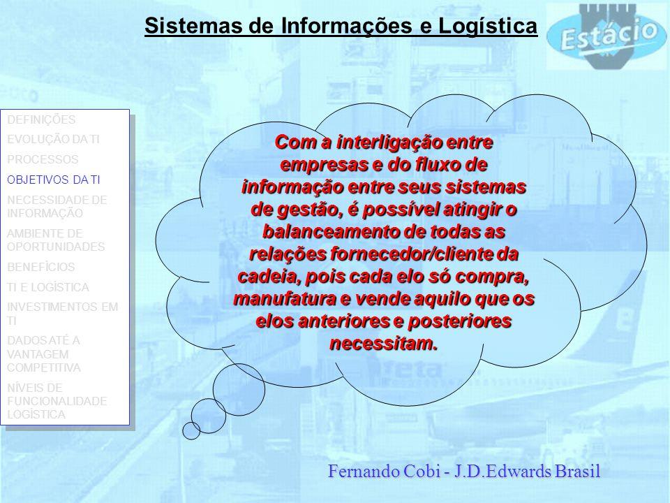 Sistemas de Informações e Logística Com a interligação entre empresas e do fluxo de informação entre seus sistemas de gestão, é possível atingir o bal