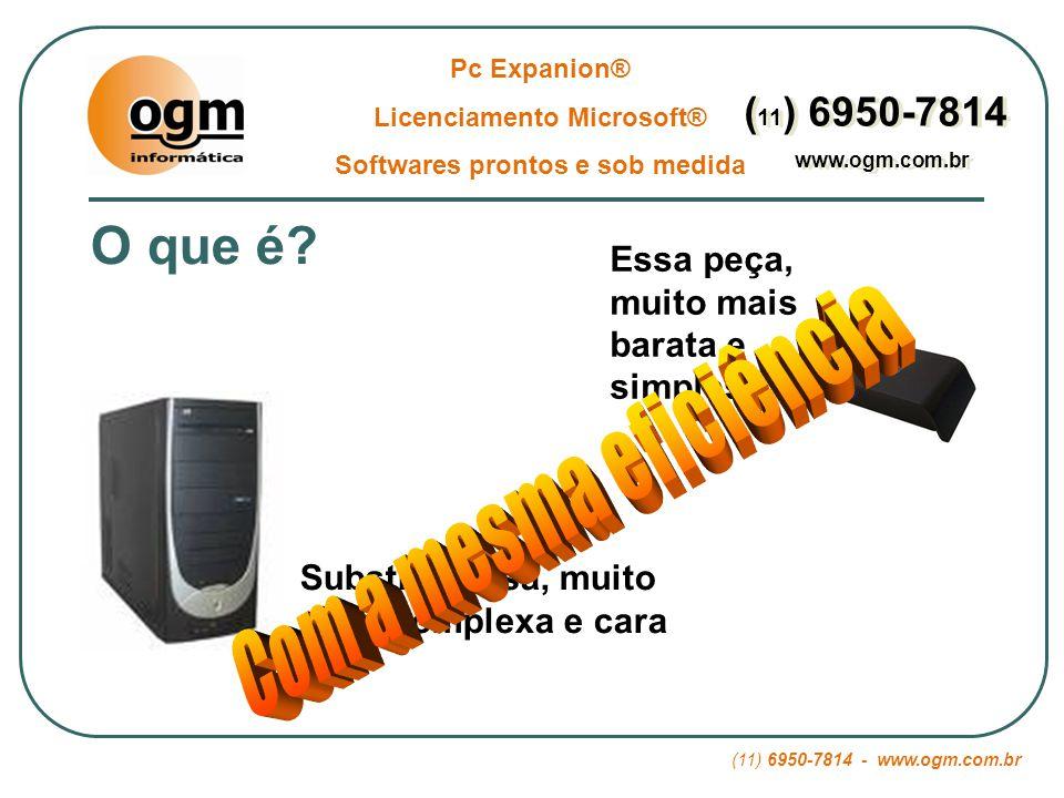 (11) 6950-7814 - www.ogm.com.br Pc Expanion® Licenciamento Microsoft® Softwares prontos e sob medida ( 11 ) 6950-7814 www.ogm.com.br ( 11 ) 6950-7814 www.ogm.com.br 03 – Segurança: Roubo de Dados: Usando Pc Expanion ® (modelo L120) ninguém tem como copiar dados da empresa pois não há portas para disquetes, pen-drives, Cd´s.