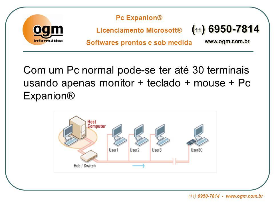 (11) 6950-7814 - www.ogm.com.br Pc Expanion® Licenciamento Microsoft® Softwares prontos e sob medida ( 11 ) 6950-7814 www.ogm.com.br ( 11 ) 6950-7814 www.ogm.com.br 04 – Economia: Troca de Peças Enquanto Pcs normais tem mais de 1.000 componentes prontos para dar defeitos e serem trocados, o Pc Expanion® tem uma arquitetura super simples e oferecem 20 vezes menos possibilidade de defeitos
