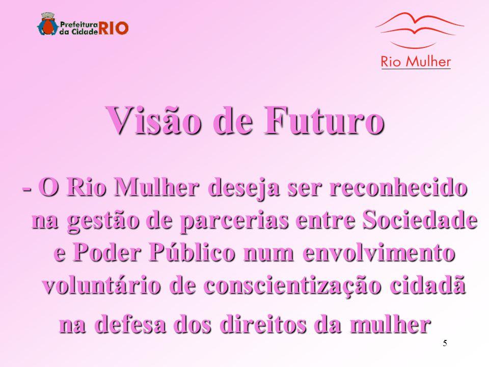 4 Missão A Missão do Rio Mulher é de contribuir para a melhoria de vida da população feminina do Município do Rio de Janeiro criando mecanismos de pro