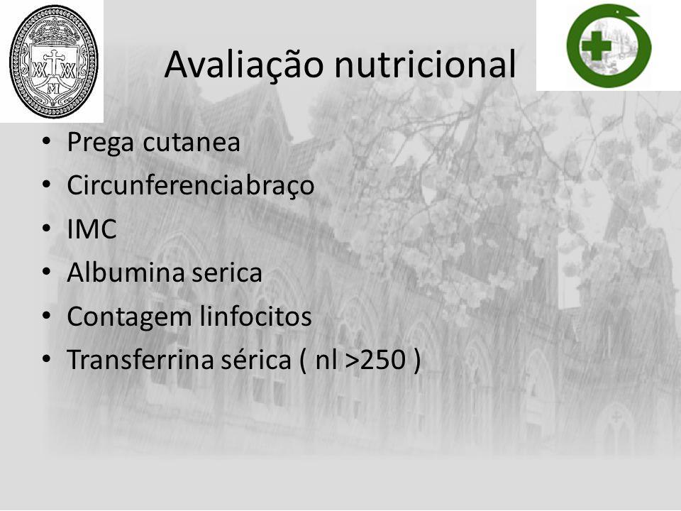 Avaliação nutricional Prega cutanea Circunferenciabraço IMC Albumina serica Contagem linfocitos Transferrina sérica ( nl >250 )