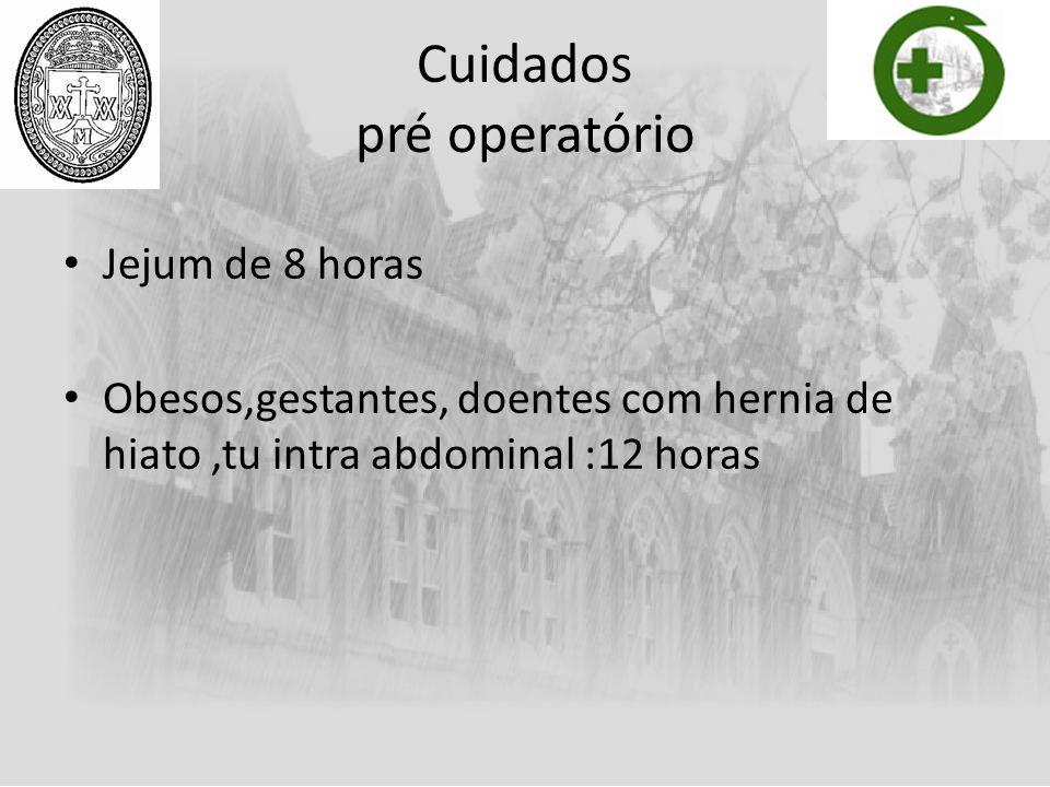 Cuidados pré operatório Jejum de 8 horas Obesos,gestantes, doentes com hernia de hiato,tu intra abdominal :12 horas