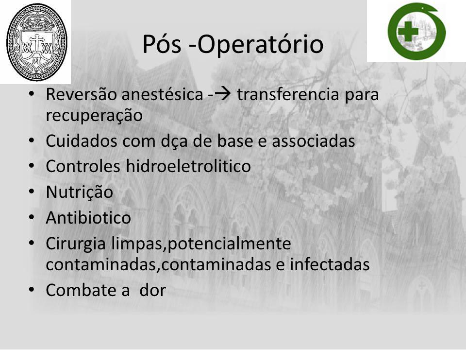 Pós -Operatório Reversão anestésica - transferencia para recuperação Cuidados com dça de base e associadas Controles hidroeletrolitico Nutrição Antibi
