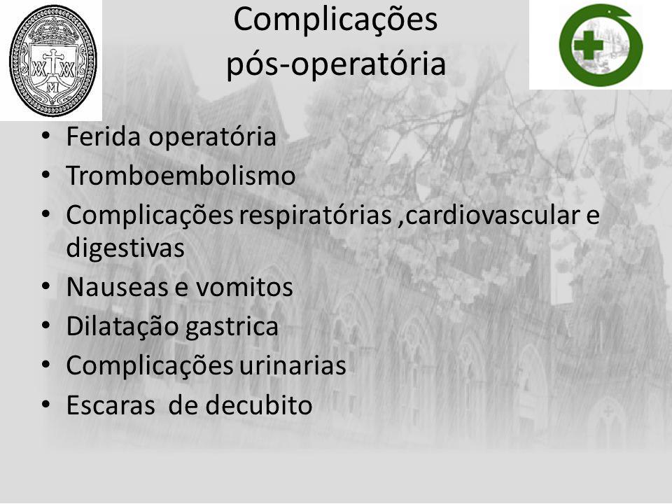 Complicações pós-operatória Ferida operatória Tromboembolismo Complicações respiratórias,cardiovascular e digestivas Nauseas e vomitos Dilatação gastr