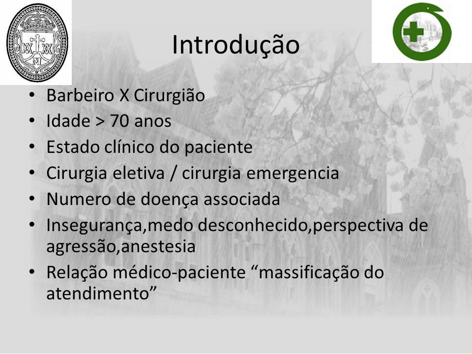 Introdução Barbeiro X Cirurgião Idade > 70 anos Estado clínico do paciente Cirurgia eletiva / cirurgia emergencia Numero de doença associada Inseguran