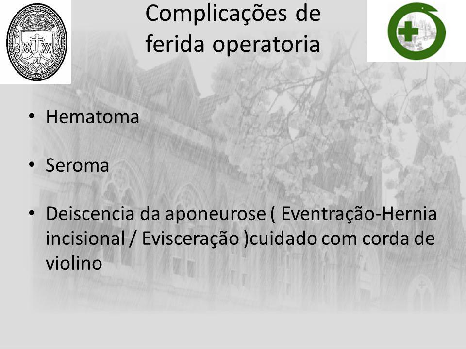 Complicações de ferida operatoria Hematoma Seroma Deiscencia da aponeurose ( Eventração-Hernia incisional / Evisceração )cuidado com corda de violino
