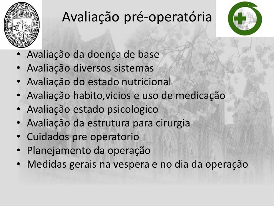 Avaliação pré-operatória Avaliação da doença de base Avaliação diversos sistemas Avaliação do estado nutricional Avaliação habito,vicios e uso de medi