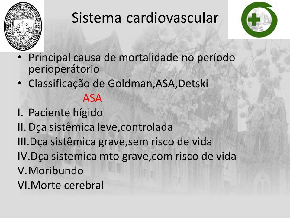 Sistema cardiovascular Principal causa de mortalidade no período perioperátorio Classificação de Goldman,ASA,Detski ASA I.Paciente hígido II.Dça sistê