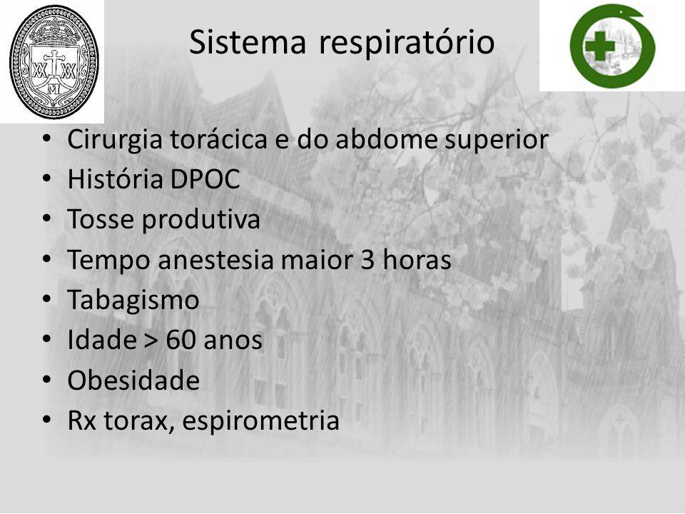 Sistema respiratório Cirurgia torácica e do abdome superior História DPOC Tosse produtiva Tempo anestesia maior 3 horas Tabagismo Idade > 60 anos Obes