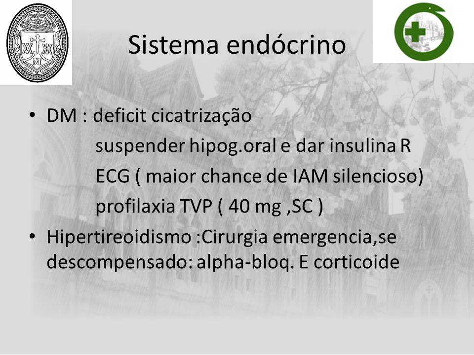 Sistema endócrino DM : deficit cicatrização suspender hipog.oral e dar insulina R ECG ( maior chance de IAM silencioso) profilaxia TVP ( 40 mg,SC ) Hi