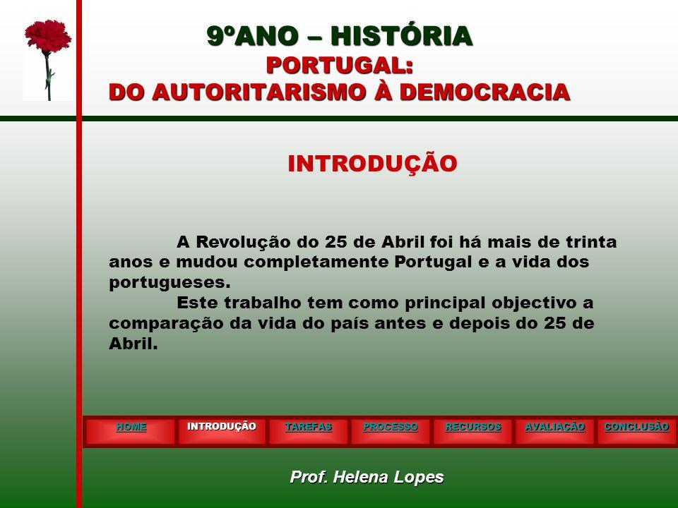 9ºANO – HISTÓRIA PORTUGAL: DO AUTORITARISMO À DEMOCRACIA HOME INTRODUÇÃO TAREFAS PROCESSO RECURSOS AVALIAÇÃO CONCLUSÃO INTRODUÇÃO A Revolução do 25 de