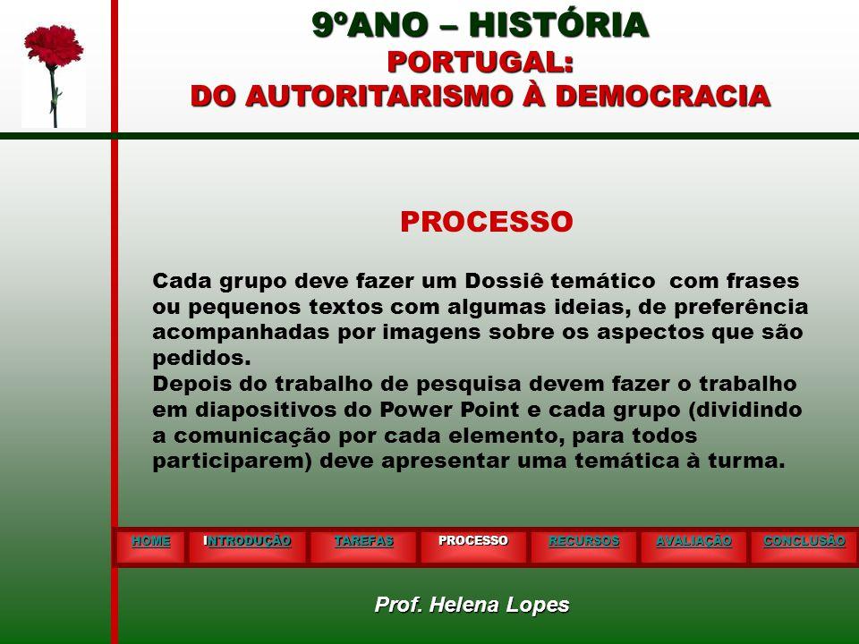 9ºANO – HISTÓRIA PORTUGAL: DO AUTORITARISMO À DEMOCRACIA HOME INTRODUÇÃO NTRODUÇÃO TAREFAS PROCESSO RECURSOS AVALIAÇÃO CONCLUSÃO PROCESSO Cada grupo d
