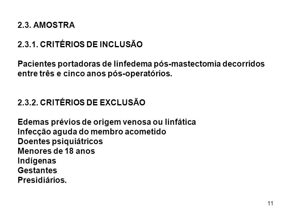 11 2.3. AMOSTRA 2.3.1. CRITÉRIOS DE INCLUSÃO Pacientes portadoras de linfedema pós-mastectomia decorridos entre três e cinco anos pós-operatórios. 2.3