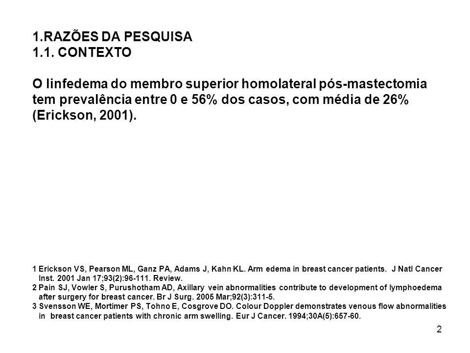 2 1.RAZÕES DA PESQUISA 1.1. CONTEXTO O linfedema do membro superior homolateral pós-mastectomia tem prevalência entre 0 e 56% dos casos, com média de