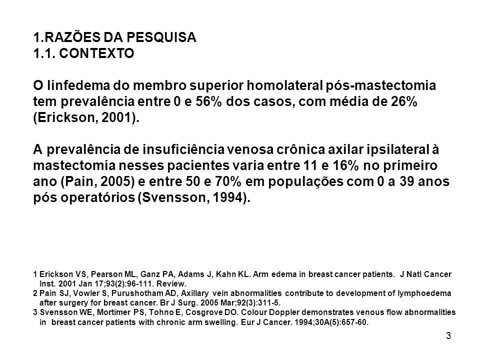 3 1.RAZÕES DA PESQUISA 1.1. CONTEXTO O linfedema do membro superior homolateral pós-mastectomia tem prevalência entre 0 e 56% dos casos, com média de