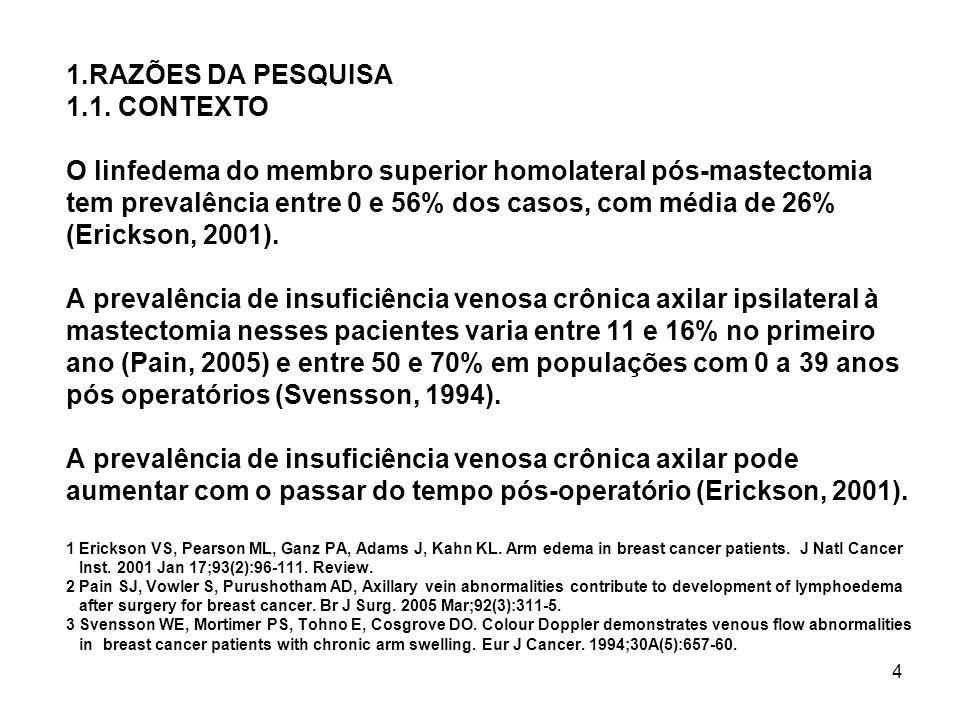 4 1.RAZÕES DA PESQUISA 1.1. CONTEXTO O linfedema do membro superior homolateral pós-mastectomia tem prevalência entre 0 e 56% dos casos, com média de