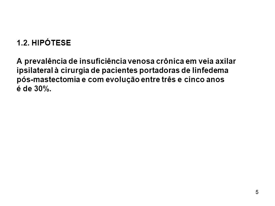5 1.2. HIPÓTESE A prevalência de insuficiência venosa crônica em veia axilar ipsilateral à cirurgia de pacientes portadoras de linfedema pós-mastectom