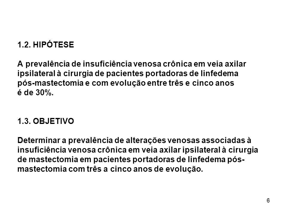 6 1.2. HIPÓTESE A prevalência de insuficiência venosa crônica em veia axilar ipsilateral à cirurgia de pacientes portadoras de linfedema pós-mastectom