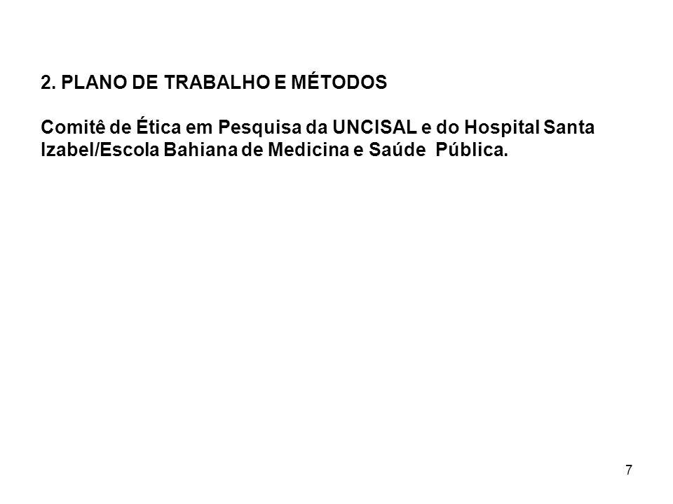 7 2. PLANO DE TRABALHO E MÉTODOS Comitê de Ética em Pesquisa da UNCISAL e do Hospital Santa Izabel/Escola Bahiana de Medicina e Saúde Pública.