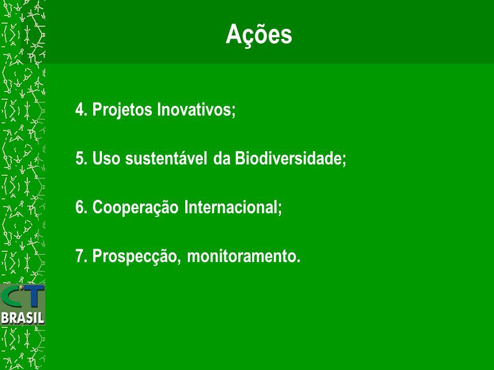 4. Projetos Inovativos; 5. Uso sustentável da Biodiversidade; 6. Cooperação Internacional; 7. Prospecção, monitoramento.