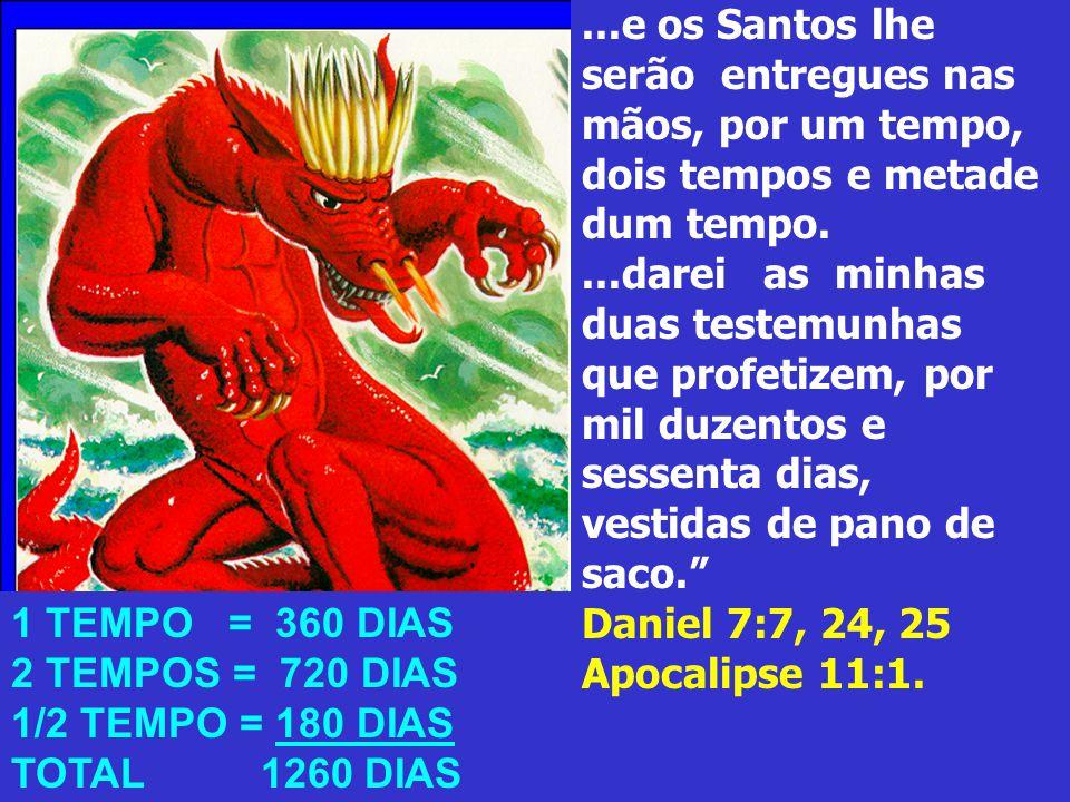 ...e os Santos lhe serão entregues nas mãos, por um tempo, dois tempos e metade dum tempo....darei as minhas duas testemunhas que profetizem, por mil