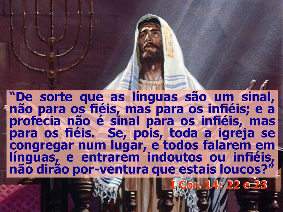 De sorte que as línguas são um sinal, não para os fiéis, mas para os infiéis; e a profecia não é sinal para os infiéis, mas para os fiéis. Se, pois, t