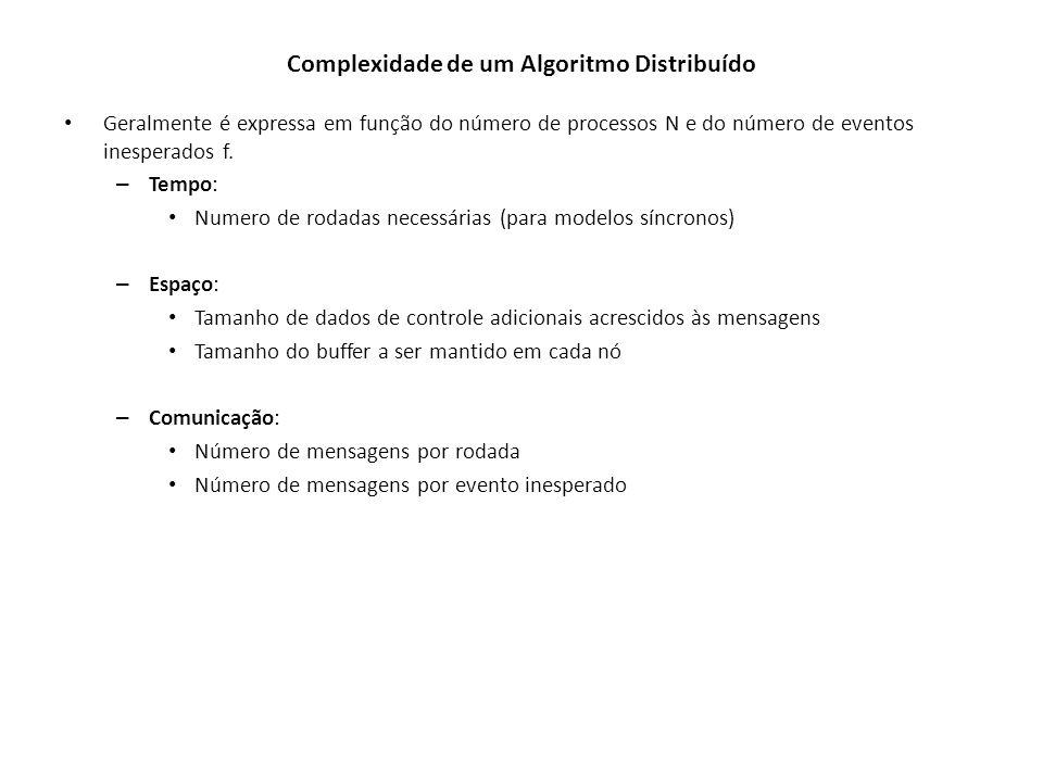 Complexidade de um Algoritmo Distribuído Geralmente é expressa em função do número de processos N e do número de eventos inesperados f. – Tempo: Numer