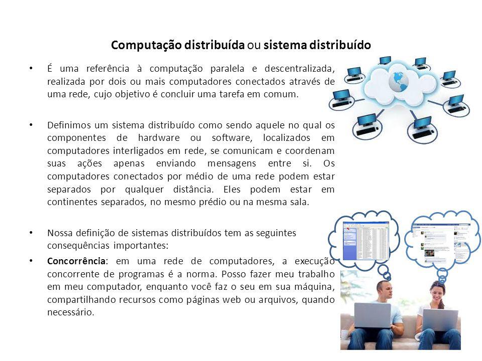 Computação distribuída ou sistema distribuído É uma referência à computação paralela e descentralizada, realizada por dois ou mais computadores conect
