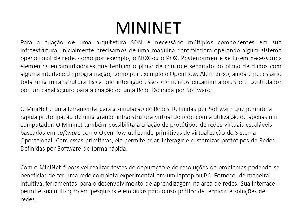 MININET Para a criação de uma arquitetura SDN é necessário múltiplos componentes em sua infraestrutura. Inicialmente precisamos de uma máquina control