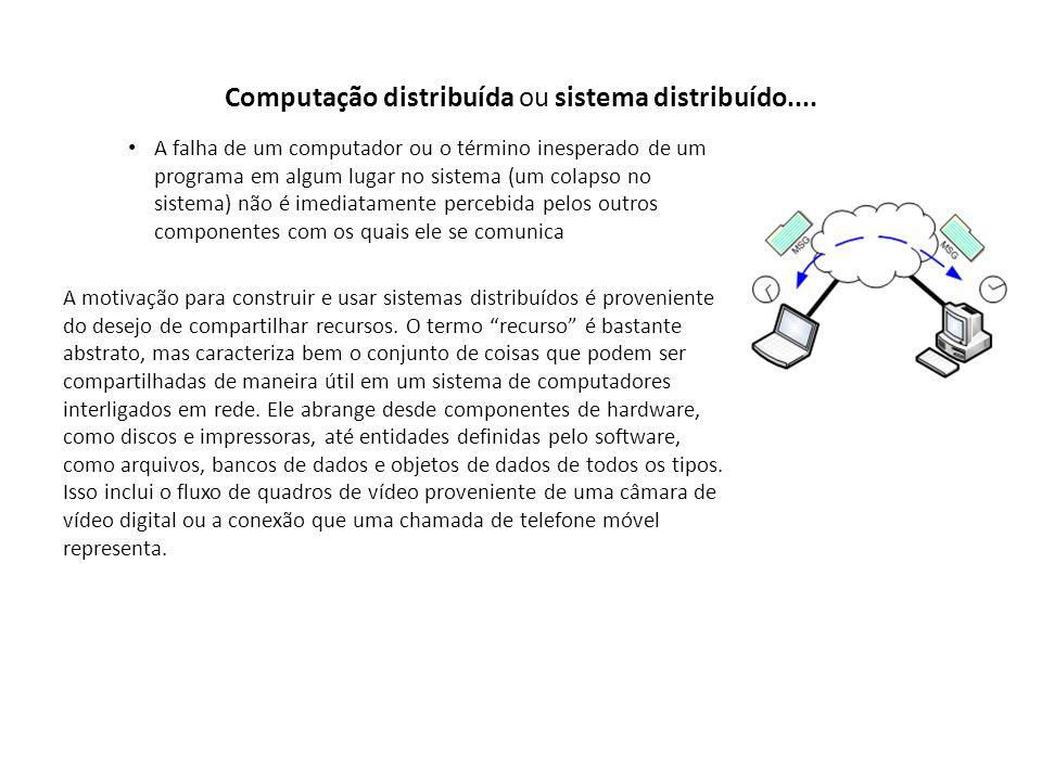 Computação distribuída ou sistema distribuído.... A falha de um computador ou o término inesperado de um programa em algum lugar no sistema (um colaps