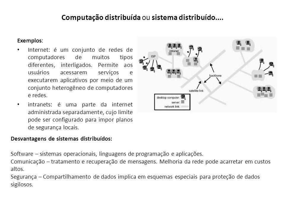 Computação distribuída ou sistema distribuído.... Exemplos: Internet: é um conjunto de redes de computadores de muitos tipos diferentes, interligados.