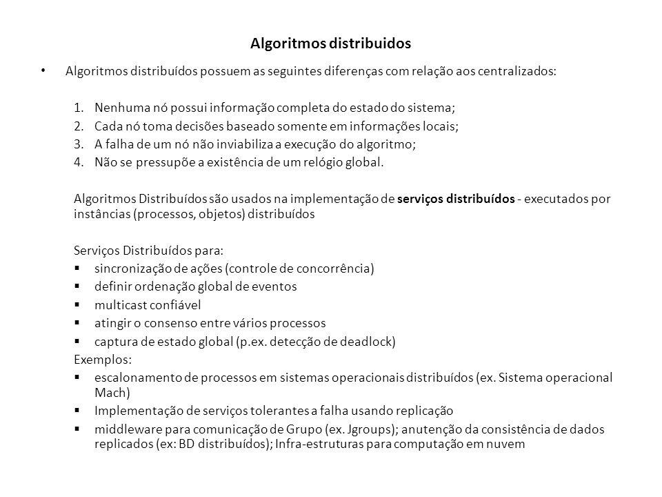 Algoritmos distribuidos Algoritmos distribuídos possuem as seguintes diferenças com relação aos centralizados: 1.Nenhuma nó possui informação completa